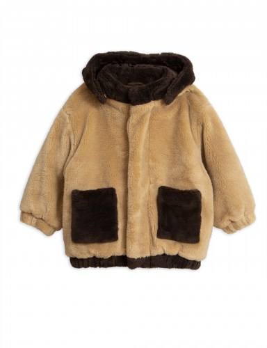 Mini Rodini - Faux fur hooded jacket beige