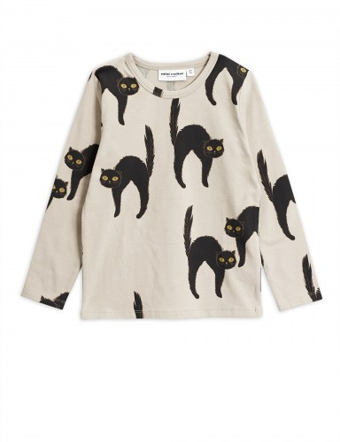 Mini Rodini - Catz ls tee Light grey
