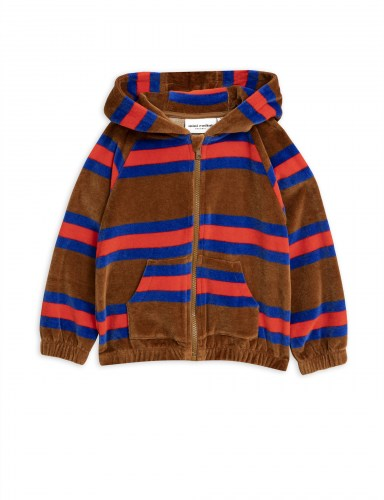 Mini Rodini - Velour stripe zip hoodie brown