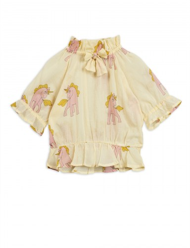 Mini Rodini - Unicorns woven bow blouse yellow
